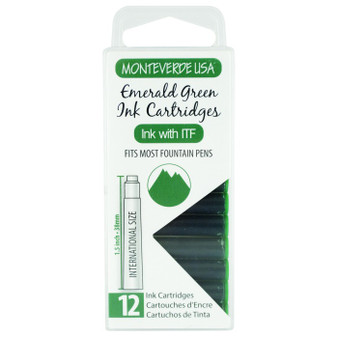 Monteverde USA® 12pc Ink Cartridges Clear Case Core Emerald Green