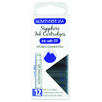 Monteverde USA® 12pc Ink Cartridges Clear Case Gemstone Sapphire