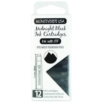 Monteverde USA® 12pc Ink Cartridges Clear Case Core Midnight Black