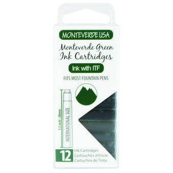 Monteverde USA® 12pc Ink Cartridges Clear Case Core Monteverde Green