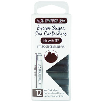 Monteverde USA® 12pc Ink Cartridges Clear Case Core Brown Sugar