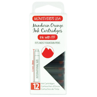 Monteverde USA® 12pc Ink Cartridges Clear Case Core Mandarin Orange