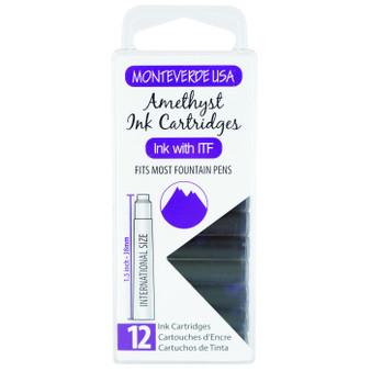 Monteverde USA® 12pc Ink Cartridges Clear Case Gemstone Amethyst