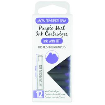 Monteverde USA® 12pc Ink Cartridges Clear Case Core Purple Mist