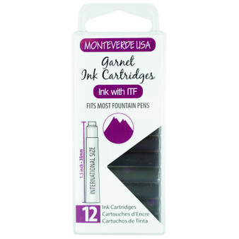 Monteverde USA® Garnet 12pc Ink Cartridges Clear Case Gemstone