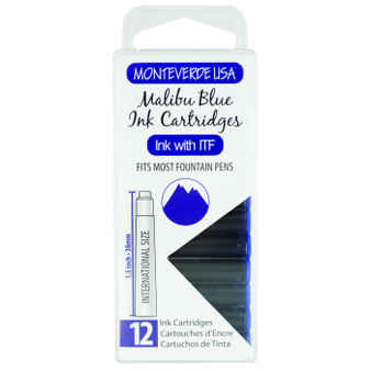 Monteverde USA® 12pc Ink Cartridges Clear Case Core  Malibu Blue