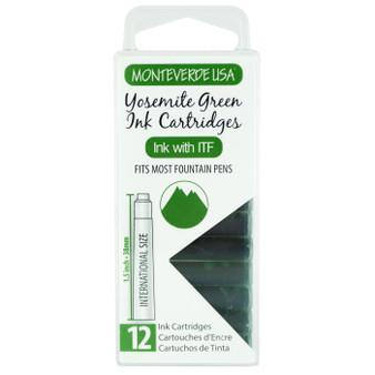 Monteverde USA® Core Yosemite Green 12pc Ink Cartridges Clear Case