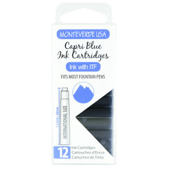 Monteverde USA® 12pc Ink Cartridges Clear Case Core Capri Blue