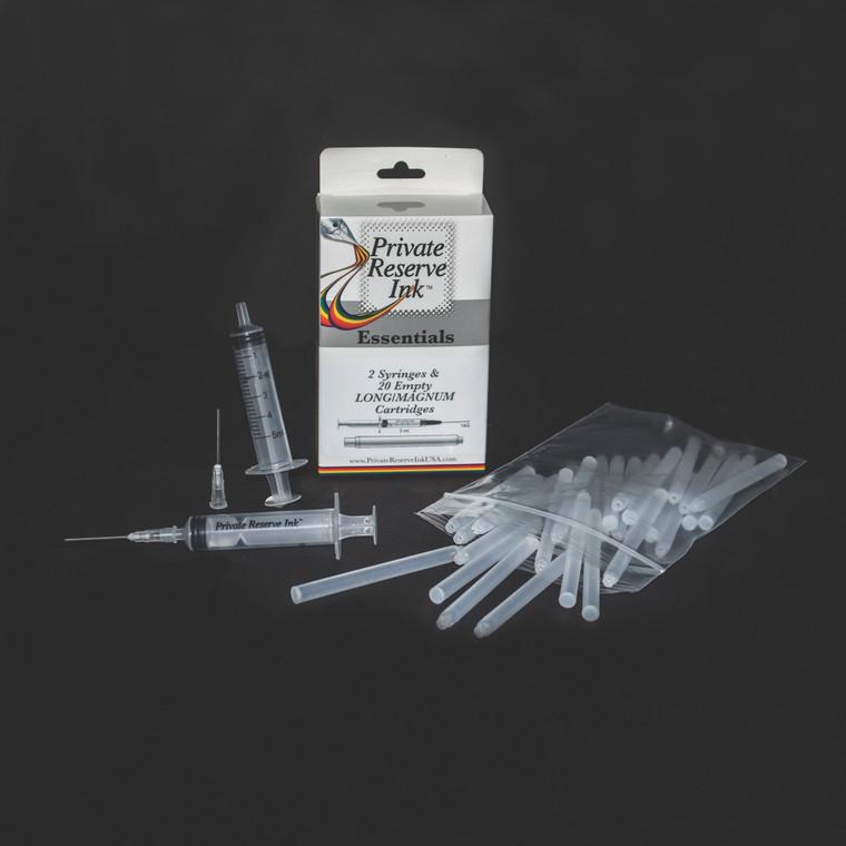 Private Reserve Ink Essentials Set 2 (20pcs of empty Long cartridges + 2pcs of 5ml Syringe)