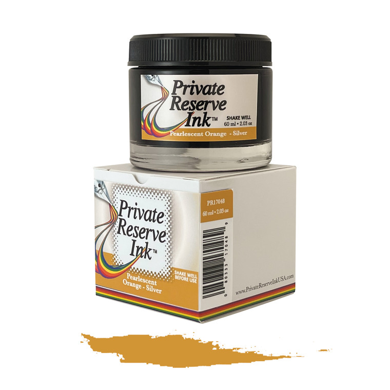 Private Reserve Ink, 60 ml ink bottle; Pearlescent Orange-Silver