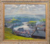 Large Early 20th Century English View Of Whitby, Yorkshire by John BURTON