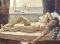 Huge 20th Century English Studio Nude Portrait Naked Lady Reclining St Ives