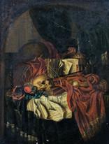 17th Century Dutch Old Master Vanitas Skull Book Still Life Edwaert COLLIER