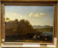 Large 17th Century Germany Classical Landscape Cattle River Johann Melchior Roos