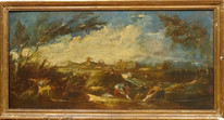 Large 17th Century Italian Old Master River Women Landscape Alessandro MAGNASCO