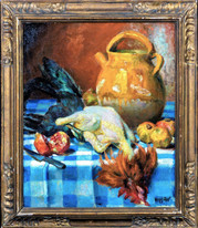 Early 20th Century French Still Life Chicken & Fruit by MARCEL DYF (1899-1985)