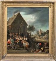 17th Century Dutch Old Master Village Tavern Banquet David TENIERS (1610-1690)