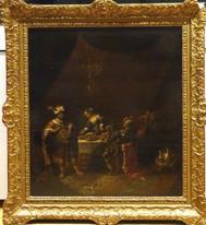 Large 17th Century Dutch Old Master Ahasuerus & Hamas Feast of Esther REMBRANDT