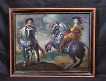 Large 17th Century Dutch Old Master Cavaliers On Horses Antique Oil Painting