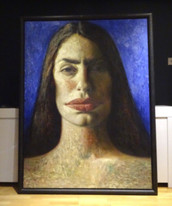 Fine Huge 20th Century Head Portrait Of Artist Penny Goring Oil Painting