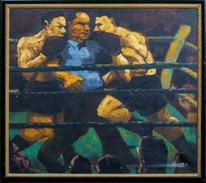 "Fine Large 20th Century Heavyweight Boxing Match Fight ""Break"" Signed"