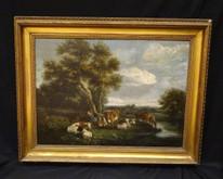 18th Century Dutch Cattle Driver & Shepherdess Resting Landscape DE LOUTHERBOURG
