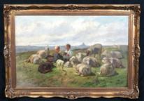 19th Century Boys Playing Cards Among The Sheep & Lambs Cornelis Van Leemputten