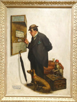 Early 20th Century Gentleman Dog & Monkey Train Station Scene Norman Rockwell