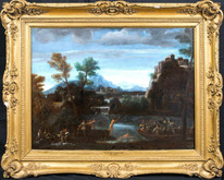 Huge 17th Century Italian Old Master Bolognese School Bathers Landscape