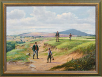 Large Early 20th Century English Golfing On The Fairway Golf Oil Painting Signed