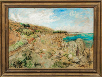 Large early 20th Century St Mary's Scilly Islands Landscape Hercules du PLESSIS