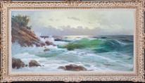 Large Early 20th Century European Seascape Waves Beach Coastal BOMUZEN