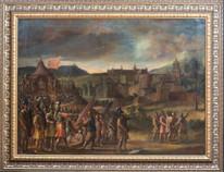 Fine Huge 17th Century Flemish School Ancient Castle Landscape Battle Scene