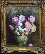 1919 Still Life Of Pink Roses ALFRED FREDERICK WILLIAM HAYWARD (1856-1939)