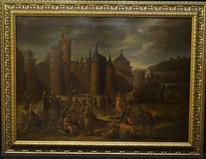 Huge 17th Century Flemish School Ancient Castle Landscape Battle War Scene