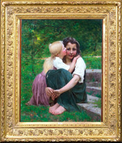19th Century French Impressionist Portrait Of Two Sisters FRANÇOIS DELOBBE