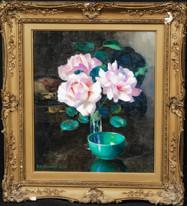 20th Century Still Life Flowers Camellia's In Glass Vase Edward Hartley MOONEY
