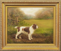 "1924 English Dog Portrait Of ""Welsh Randy"" Welsh Springer Spaniel Henry CROWTHER"