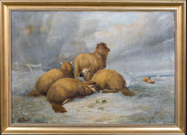 Large 19th Century English Sheep Snow Winter Landscape Alfred Charles MORRIS