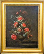 Fine Large 17th Century Dutch Old Master Still Life Flowers In A Vase Antique