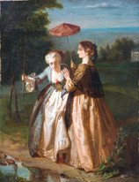 19th Century Belgian Ladies Fishing At Summer by VITAL DE GRONKEL (1820-1890)