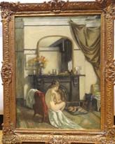 Large Early 20th Century English Nude Girl & Dog Portrait Thomas Tennant Baxter