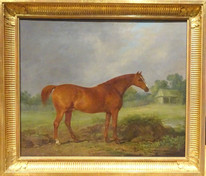 18th 19th Century Chestnut Horse Highthyer Antique Oil Painting Tattersalls