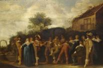 17th Century Dutch Ladies & Gentlemen Garden Party Scene Dirk Hals (1591-1656)