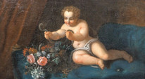 Large 17th Century Italian Old Master Infant Hercules & Serpent Oil  Painting