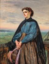Large 19th Century English Lady Portrait On A Ship by Edward Charles BARNES