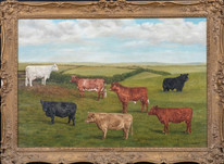 Large 20th Century Portrait Of Prize Shorthorn & Galloway Cattle In A Landscape
