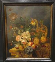 Large 17th Century Flemish Baroque Still Life Flower Fruit Alexander ADRIAENSSEN