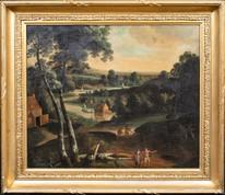 Fine Large 17th 18th Century Anglo Flemish River Village Landscape Oil Painting
