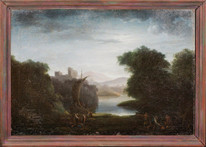 Huge 17th Century Italian Moonlit Smugglers Pirates Bandits Landscape Ships